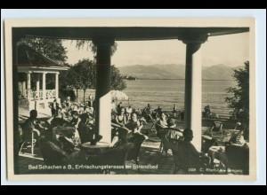 W6V70/ Bad Schache Lindau Erfrischungsterasse im Strandbad Foto AK ca.1935