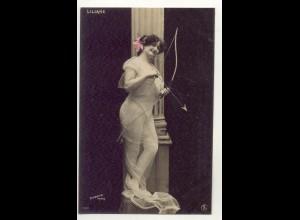 W6V92/ Liliane - junge Frau Erotik Foto Stebbing, Paris AK ca.1910