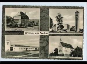 W6W31/ Wernau am Neckar Großwäscherei Kirche AK 1962