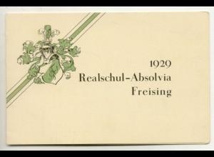 c626/ Studentika Realschul-Absolvia Freising 1929 Klappkarte Studenten