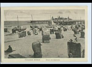 W7A91/ Ahlbeck Heringsdorf Usedom Strand mit Seebrücke 1927 AK (b)