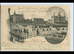 W7B17/ Zinnowitz Usedom Brücke und Hotels am Strande 1901 AK (b)