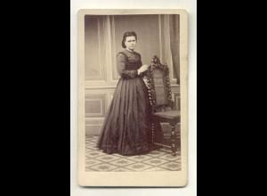 W7G39/ CDV Foto feine Dame Atelier G. Zwarg Leipzig ca.1875