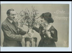 P2V56/ Pfingsten - Paar mit Blumen schöne Foto AK ca.1912