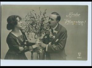 P2V55/ Pfingsten - Paar mit Blumen schöne Foto AK ca.1912
