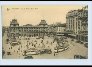 W7D25/ Straßenbahn Bruxelles Gare du Nord AK ca.1912 (b)