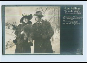 P3C60/ Weihnachten Paar mit Fuchsstola Foto AK ca.1912