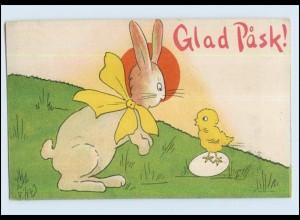 W7H92/ Glad Pask! Ostern Hasen und Küken schöne AK 1920