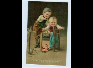 W7K96/ Kinder mit Puppe Litho Künstler AK Kleehaas 1922