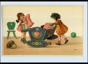 W7L04/ Mädchen mit Puppe Babywiege schöne Litho Künstler AK ca.1920