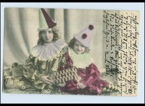 W7H82/ Kinder in Karneval-Kostüm schöne AK 1904