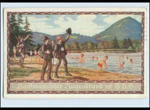W7J54/ Kaufmännischer Jugendbund im B.D.H. Künsterl AK E. Kutzer 1914 Wandern