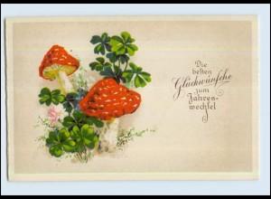 P3D10/ Neujahr Pilze schöne Litho Ak ca.1925
