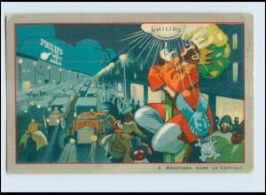 V1635/ Philips Glühbirne Werbung Reklame Litho AK Le Roi Moustinga ca.1925
