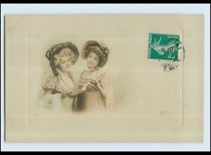 W7P91/ Zwei Frauen mit Hut schöne Foto AK 1910 Lilas
