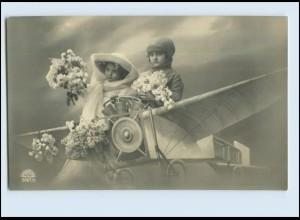 W7P94/ Kinder im Flugzeug Fotomontage Foto AK 1913