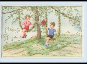 W7Q54/ Pfingsten Kinder schaukeln schöne AK 1933