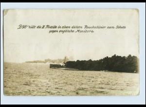 """P3D90/ """"B98"""" hüllt die II. Flottille in einen dichten Rauchschleier Foto AK"""