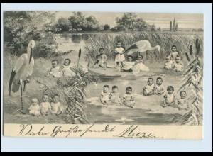 W7U80/ Storch und Babys Fotomontage 1902 AK