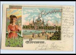 W7W79/ Bremen Parkhaus Jugendstil Litho AK 1902