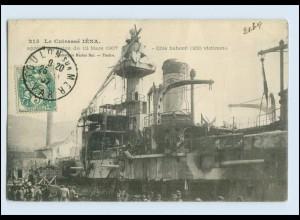W8C75/ Le Cuirasse Iena - apres explosion du 12, Mars 1907 AK Frankreich