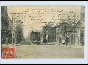 H459/ Paris La Rue de la Convention Tram Straßenbahn AK 1908
