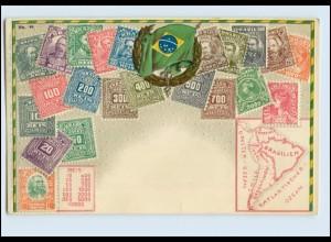 A5729/ Brasilien Briefmarken schöne Litho Prägedr. AK ca.1910