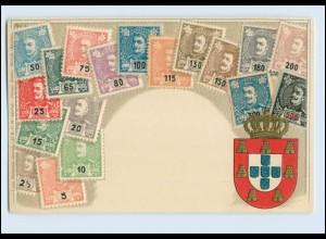 A5721/ Portugal Briefmarken Litho Prägedruck AK ca.1905