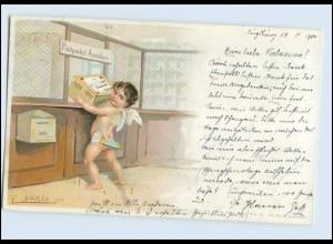 A5453/ Post Amor am Paketschalter Litho Künstler AK E. Döcker 1901