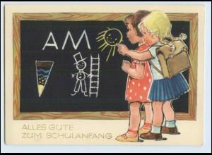 W7Z57/ Einschulung Mädchen Schultafel schöne AK 1962 Schule
