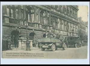 W8B25/ Antwerpen Deutsche Soldaten mit Auto LKW 1915 AK 1. Weltkrieg