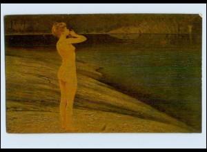 """P3J26/ Degi Gemälde AK Nr.539 """"Echo"""" Frau nackt am Wasser Erotik ca.1920"""