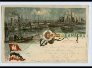 P3J54/ Gruß aus Hamburg Binnen-Hafen Litho AK 1900