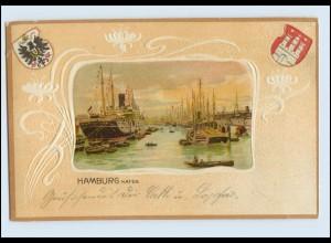 W8E45/ Hamburg Hafen Litho Prägedr. Wappen 1903