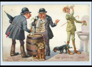 W8E65/ Bier trinken Humor Dackel AK 1913