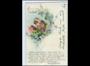 Y18320/ Gruß Karte Litho AK 1900 10,5 x 6,5 cm