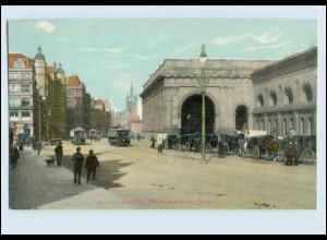 P3M79/ Newcastle-on-Tyne Central Station Bahnhof Straßenbahn AK ca.1910