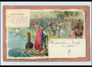 A7611/ Lohengrins Abschied Litho AK Wagner 1899