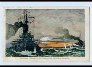 W8G46/ Kriegsschiffe Dt. Linienschiff im Kampfe mit engl. Kreuzern AK 1915