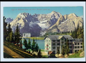 W8H47/ Lago di Misurina Hotel AK Südtirol Italien ca.1912 Verlag: Menardi