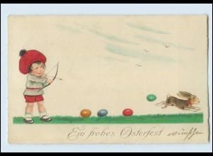 W8K89/ Ostern Kind mit Pfeil und Bogen Litho AK 1927