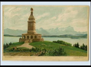 W8K76/ Bismarckturm am Starnberger See Zeno-Diemer Litho AK 1905 Bismarck