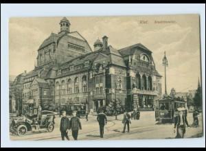 A8016/ Kiel Stadttheater Starßenbahn Autos AK 1915