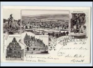 A8117-3250/ Hameln Gruß aus Hameln 1898 Litho AK