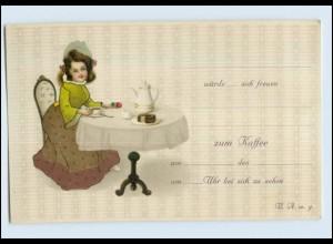 W8L43/ Einladung Mädchen trinkt Kaffee Litho AK Kuchen ca.1912