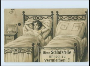W8R29/ Frau im Bett - Schlafstelle zu vermeieten Humor AK 1913