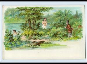 W8R30/ Erotik Mann beobachtet Frauen Litho AK ca.1900