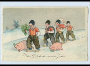 W8U87/ Neujahr Holländische Kinder, Schweine, Pilz schöne AK Neujahr 1926