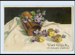 W8U47/ Neujahr Würfelbecher Litho Prägedr. AK 1918