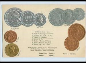 A9554/ Brasilien Brazil Münz Münzen Geld Präge AK